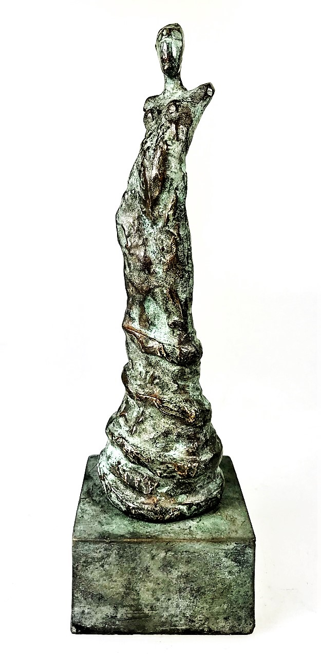 LINÉ Eze woman on bronze pedestal. 20 cm H - Bronze Sculptures of Liné Ringtved Thordarson