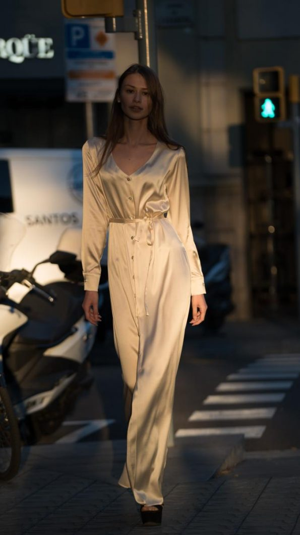 s vestido seda camisero champagne 595x1058 - Laura Sors Collection