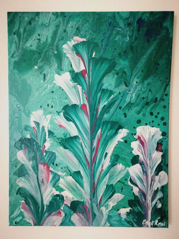 ABSTRACT CALIA LILY 1 595x793 - Jennita Narrain, the Mauritian painter
