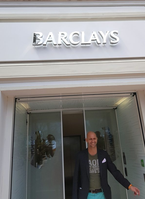 The Artist Cesare Catania outside the Barclays Bank during his solo exhibition in the Bank 595x820 - New exhibition of Cesare Catania in the French Riviera during the International Cannes Film Festival period