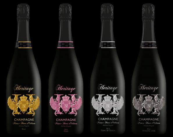 Collection Champagne Heritage 2017 Fond Noir 595x473 - Royal Bubbles Champagne Heritage Prince Henri D'Orléans