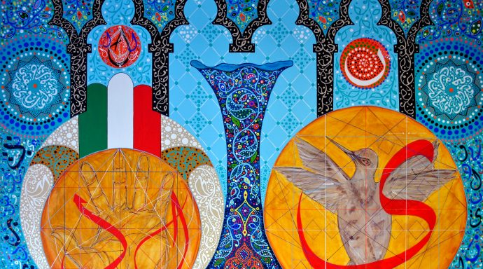 DSC 0333 690x384 - Raouf Meftah, the great painter of the magical transcendental calligraphy