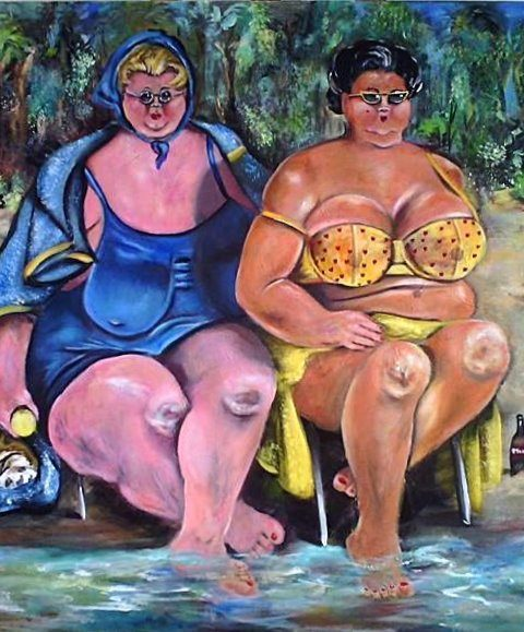 Détente à la côte a zur2 480x579 - Petra Moons, the artists with humorous and social expression