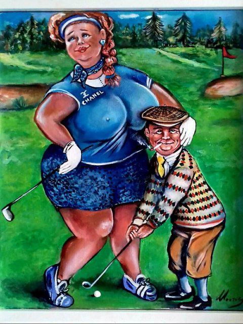 Golfplaying 2 480x640 - Petra Moons, the artists with humorous and social expression
