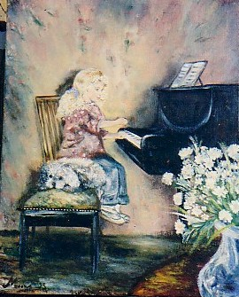 petite fille au piano - Petra Moons, the artists with humorous and social expression