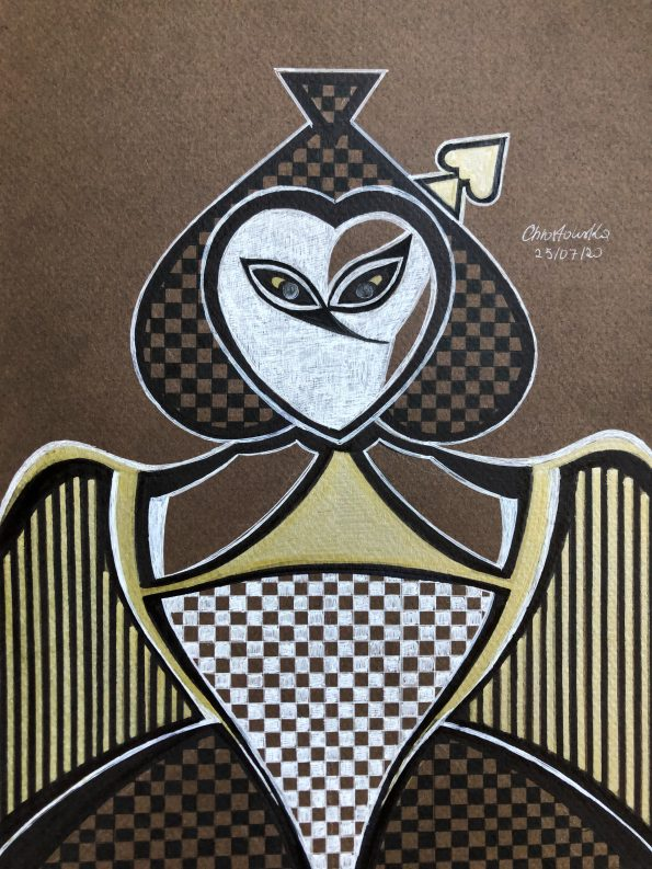 Queen of Spades 29 x 215 cm Pen 2020 595x793 - 'Queen of Spades' 29 x 21,5 (cm), Pen, 2020