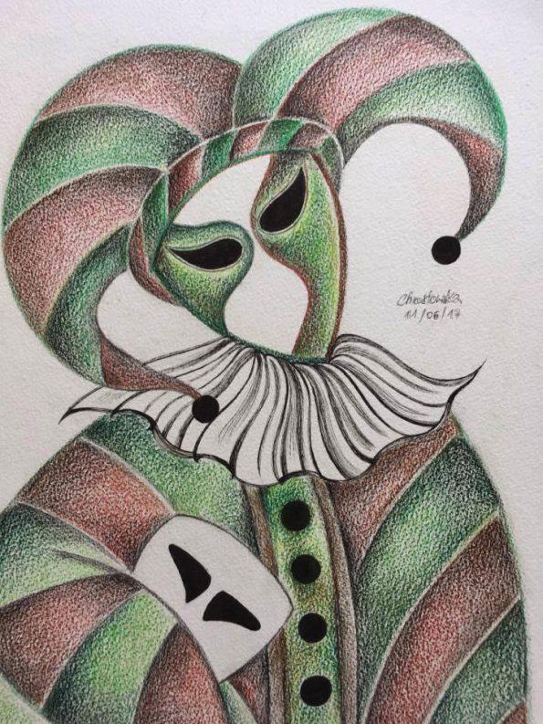 Venetian Mask Brown Green A3 Watercolour Pencil 2017 1 595x793 - Marta Chrostowska, the fresh art of a self-taught artist