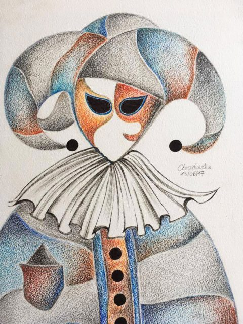Venetian Mask Light Blue Orange A3 Watercolour Pencil 2017 480x640 - Marta Chrostowska, the fresh art of a self-taught artist