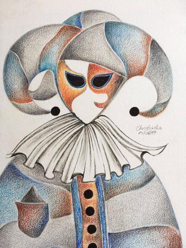 Venetian Mask Light Blue Orange A3 Watercolour Pencil 2017 595x793 - Venetian Mask Light Blue - Orange A3 Watercolour Pencil, 2017