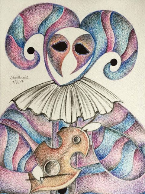 Venetian Mask Purple Blue A3 Watercolour Pencil 2017 480x640 - Marta Chrostowska, the fresh art of a self-taught artist