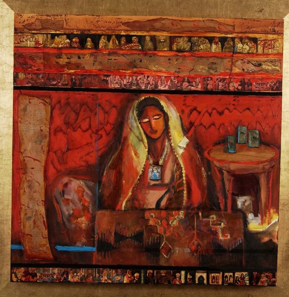 Nabeela Al Khayer80x80cm Mixed Media on canvas2007.jpg 1.jpg 595x611 - Nabeela Al Khayer the artist that creates stories of magical colors