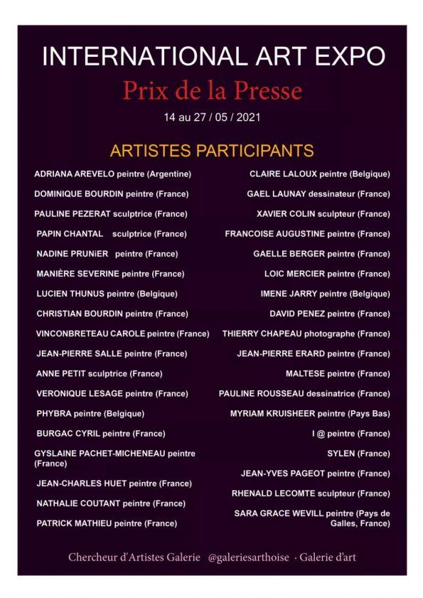 INTERNATIONAL ART EXPO LIST OF ARTISTS 595x841 - International Art EXPO organized by Chercheur d'Artistes Galerie