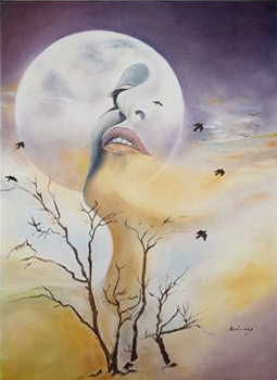 57 demande à la lune 50x70 huile 202 dec - The artists awarded in the first International Art Expo