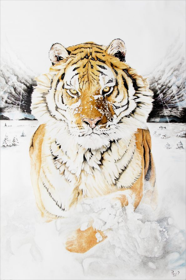 Résilience80x120Encre2020 595x897 - The artists awarded in the first International Art Expo