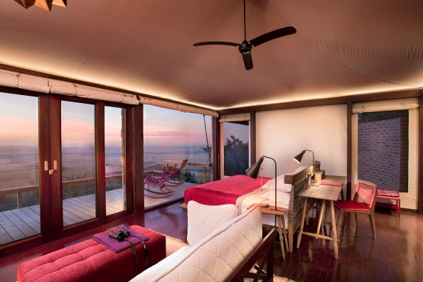 Inside the tent at sunrise 1 olvppk 1 595x397 - Luxe by Mulanda, the luxury travels to best lodges of Africa part I