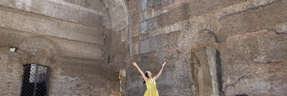 """LORENA VESTIDO AMARILLO 950x320 - """"Lorena in Roman Holiday"""",  Lorena Baricalla, with Julius R. Nasso"""